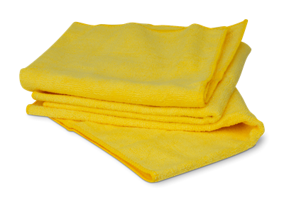 Yellow lint free microfiber towel